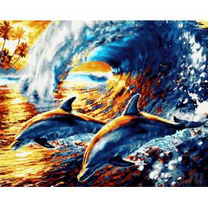 Веселые дельфины Раскраска картина по номерам на холсте