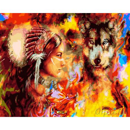 ZX 22061 Девушка и волк в красках Раскраска картина по ...