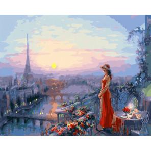 Дама в красном на веранде Раскраска картина по номерам на холсте