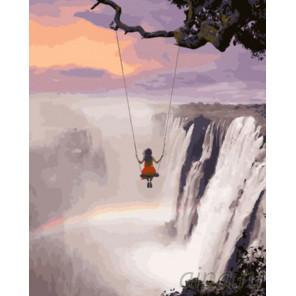 Качеля над водопадом Раскраска картина по номерам на холсте