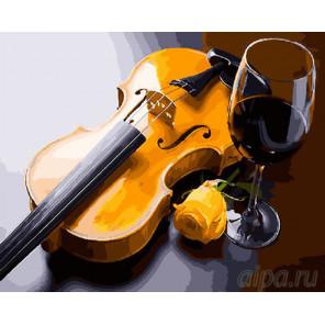 Желтая скрипка Раскраска картина по номерам на холсте