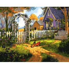 Куры в саду Раскраска картина по номерам на холсте