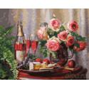 Розовое шампанское и цветы Раскраска картина по номерам на холсте
