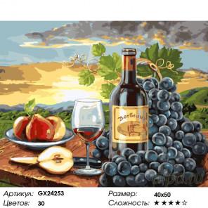 Количество цветов и сложность Красное вино и фрукты Раскраска картина по номерам на холсте GX24253