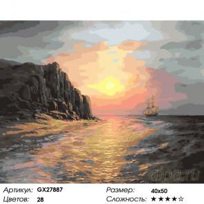 Количество цветов и сложность Море на закате Раскраска картина по номерам на холсте GX27887
