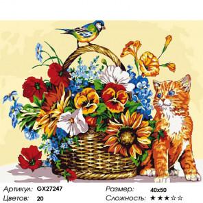 Количество цветов и сложность Котенок и синичка Раскраска картина по номерам на холсте GX27247