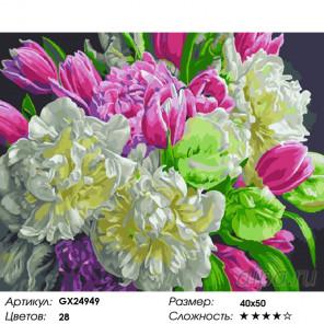 Количество цветов и сложность Весенние пионы Раскраска картина по номерам на холсте GX24949