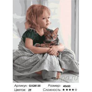 Количество цветов и сложность В обнимку с котом Раскраска картина по номерам на холсте GX28135
