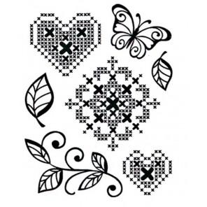 Вышивка крестиком и сердце Набор прозрачных штампов для скрапбукинга, кардмейкинга Viva Decor