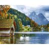 Озеро в горах Раскраска картина по номерам на холсте GX27951