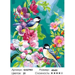Птицы в цветах Раскраска картина по номерам на холсте GX27901