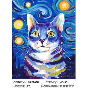 Красочный кот Раскраска картина по номерам на холсте GX28568