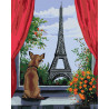 Собачка в Париже Раскраска по номерам на холсте Живопись по номерам AYAY-17032019