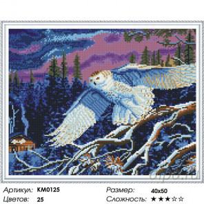 Белая сова Алмазная мозаика вышивка на подрамнике Molly KM0125