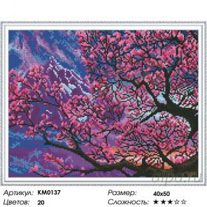 Количество цветов и сложность Сакура в цвету Алмазная мозаика вышивка на подрамнике Molly KM0137