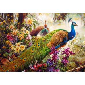 Павлины в цветах Алмазная вышивка (мозаика) Гранни