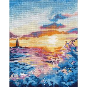 В рамке Закат на море Набор для вышивания Овен 1182