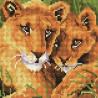 Львица со львенком Алмазная мозаика вышивка на подрамнике Painting Diamond BF670