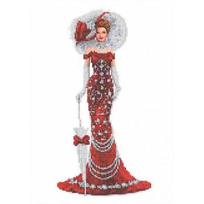 Дама в красном Канва с рисунком Каролинка ТКБЛ 3043
