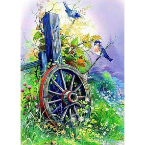 Старое колесо Ткань для вышивки лентами Каролинка КЛ-3036