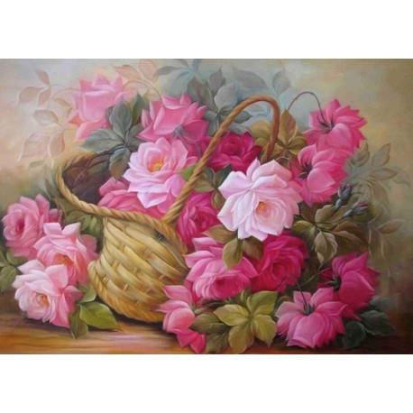 Розы в корзине Ткань для вышивки лентами Каролинка КЛ-3039