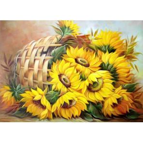 Солнечный букет Ткань для вышивки лентами Каролинка КЛ-3040