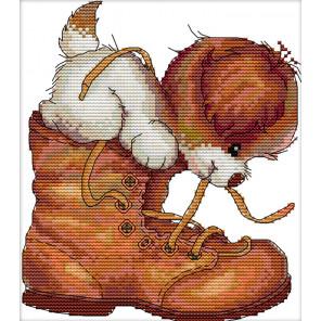 Щенок и ботинок Набор для вышивания K473