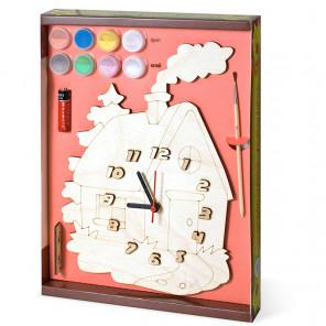 Домик Набор для росписи деревянных часов
