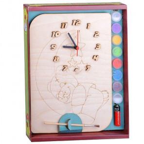 Медвежонок на луне Набор для росписи деревянных часов