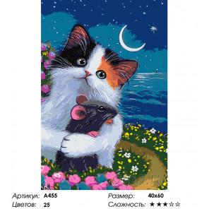 Дружелюбный котенок Раскраска по номерам на холсте Живопись по номерам A455