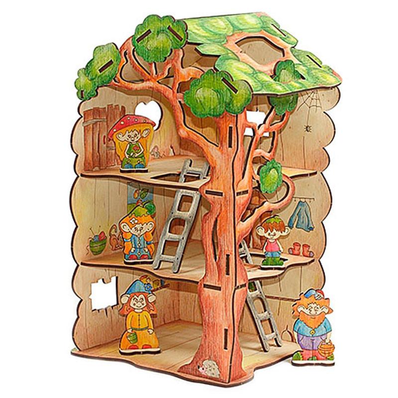 Wi 00730 дом дерево для лешиков 3d пазлы деревянные Woodyпо