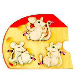 Мышки Шнуровка деревянная 7795