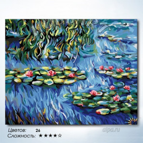 Водяные лилии. Клод Моне Раскраска картина по номерам на холсте Hobbart HB4050373-Lite