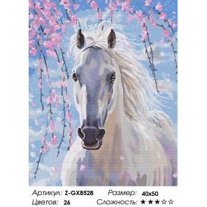 Количество цветов и сложность Белогривая лошадка Раскраска по номерам на холсте Z-GX8528