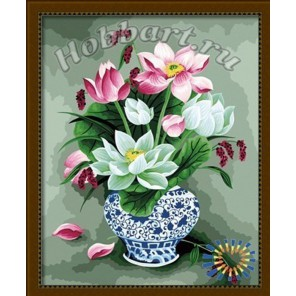 Букет лотосов Раскраска картина по номерам акриловыми красками на холсте Hobbart