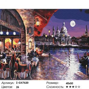 Количество цветов и сложность Венецианское кафе Раскраска по номерам на холсте Z-GX7620