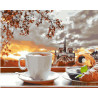 Чай с круассаном Раскраска картина по номерам на холсте GX27356