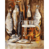 Пиво с рыбкой Раскраска картина по номерам на холсте МСА197