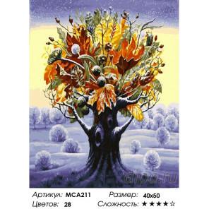 Количество цветов и сложность Фантастическое дерево. Осень посреди зимы Раскраска картина по номерам на холсте МСА211