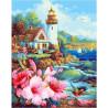Домик с садом у маяка Раскраска картина по номерам на холсте МСА237