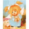 Ангелок с цветами Раскраска картина по номерам на холсте МСА247