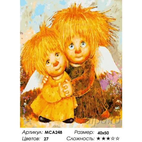 Количество цветов и сложность Влюбленные Ангелочки Раскраска картина по номерам на холсте МСА248