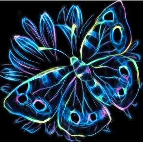 В рамке Неоновая бабочка Алмазная вышивка мозаика Алмазная живопись АЖ-1713