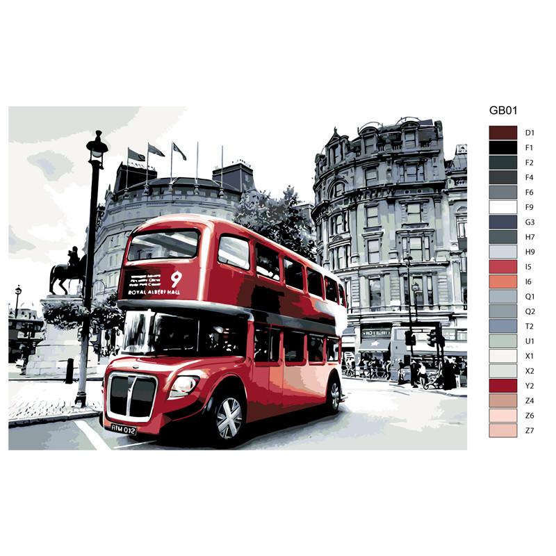 KTMK-GB01 Двухэтажный автобус Раскраска картина по номерам ...