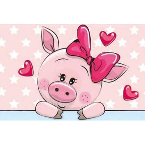 Влюбленная свинка Алмазная мозаика на подрамнике LC006