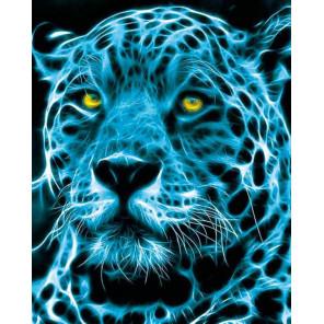 Голубой неоновый леопард Алмазная мозаика на подрамнике LG154