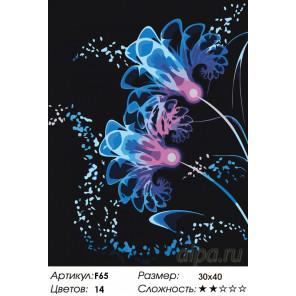 Количество цветов и сложность Неоновые цветы Раскраска картина по номерам на холсте F65