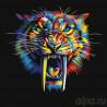 Радужный саблезубый тигр Раскраска картина по номерам на холсте PA134