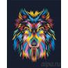 Радужный взгляд волка Раскраска картина по номерам на холсте PA140
