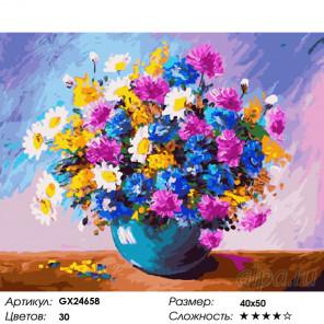Количество цветов и сложность Яркий букет Раскраска картина по номерам на холсте GX24658